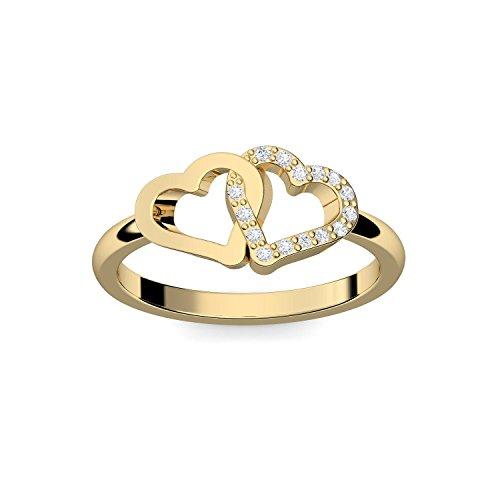 Herzring Gold Herz Ring Gold Verlobungsringe Gelbgold vergoldet Zirkonia Stein + LUXUSETUI! Goldring Ring Zirkonia wie Diamant Ringe Heiratsantrag Verlobung Geschenke Frauen FF206 VGGGZIFA58