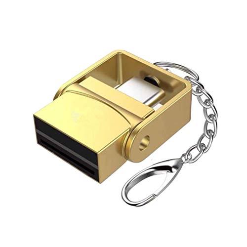 UKCOCO Mini Lector de Tarjetas Tipo Metal Tipo C Llavero portátil Tipo C Lector de Tarjetas OTG con Memoria Micro SD TF para Samsung Galaxy S9 S8 Nota 9, Píxel, LG V30 G6 G5 (Oro)