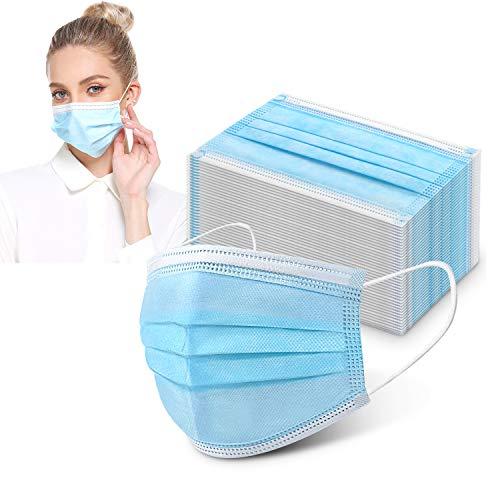 Ovitus 100 Stück Mundschutzmasken 3-lagig Mundschutz Gesichtsmaske Einwegmaske Einweg Maske mit Ohrschlaufen