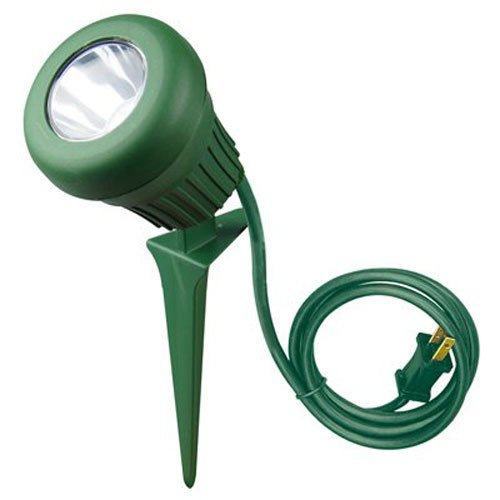 Woods 0434 LED 60-Watt 200 Lumen Stake Light, Weather Resistant, Heavy Duty Stake, Durable Fixture, Polarized Plug with 3-Foot Cord, 5 LEDs, Green Finish, 2 Extra Red and Green Lenses