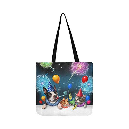 New Year Cat Dog Parrot Hamster celebrazione modello borsa a tracolla di tela a tracolla borse borse per uomini e donne shopping Tote