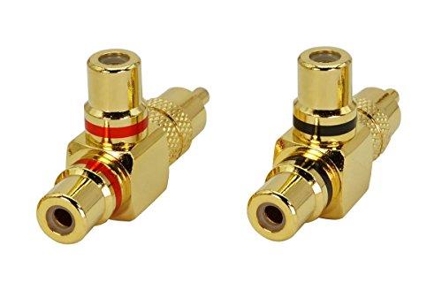 2 Stück SunshineTronic Premium Y- Cinch-Adapter | 1xCinch-Steck auf 2xCinch-Kupplung