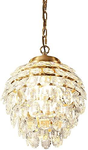 ZHLFDC Decoración del hogar American Crystal Feather Lámpara de araña Dormitorio Luz Luz de Pino Cono Lámpara Atmósférica Sala de estar Lámpara Lámpara Lámpara Personalidad Estudio Pasillo Cristal Lám