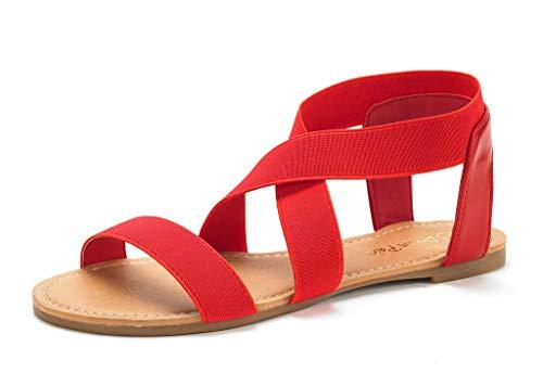 DREAM PAIRS Sandals for Women Elatica-6 Red Elastic Ankle Strap Flat Sandals - 10 M US