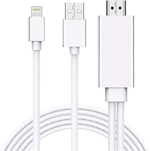Adaptador de cable Lightning a HDMI, 1080p Lightning a Digital AV Adaptador 4K Sincronización Cable Conector de Pantalla Compatible con iPhone iPad a HDTV Monitor Proyector – 6 pies, Plata