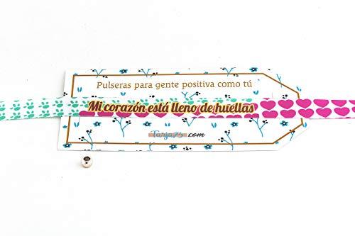 Pulseras de tela con frases molonas: MI CORAZÓN ESTÁ LLENO DE HUELLAS | Regalo original