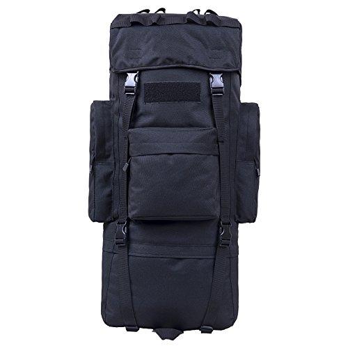 COCO-Outdoor bergbeklimming tas schouder mannen en vrouwen grote capaciteit reistas wandeltas rugzak mannelijke bagage tas Zwart 65L+Rain cover