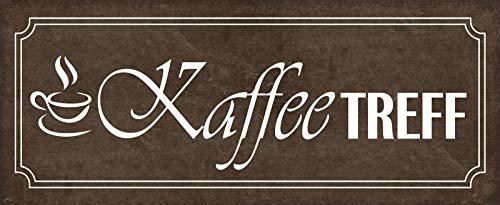 FS Kaffee- TREFF (braunes Schild mit Kaffeetasse) Blechschild Schild gewölbt Metal Sign 10 x 27 cm