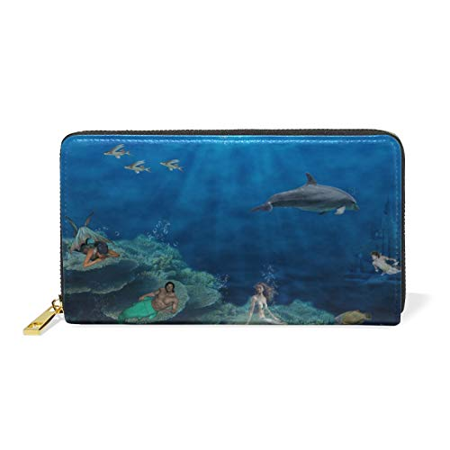 Art Sea Mermaid Fishes Dolphin Leather Womens Zipper Wallets Clutch Coin Case