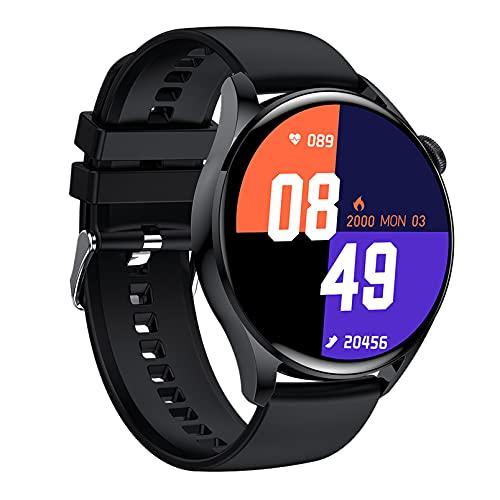QFSLR Smartwatch, Relojes Inteligentes Hombre, Impermeable IP68,Seguimiento del Sueño Podómetro,Negro,L