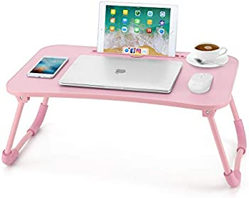 Nnewvante Foldable Lap Desk Bed Table Tray with iPad Slots