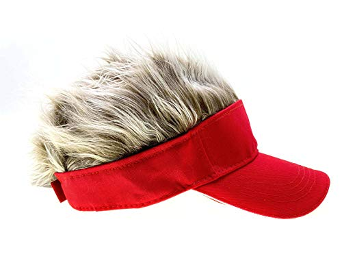 Adult Novelty Sun Visor Cap with Spiked Hairs Wig Peaked Adjustable Baseball Hat Fake Hair (Red Brown)