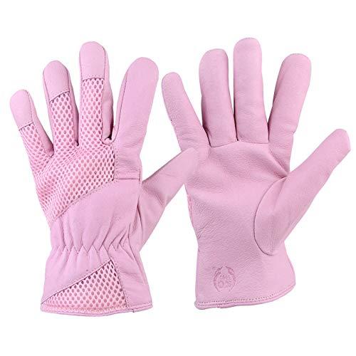 IOOI 1 Paar Damen Gartenhandschuhe, Pigskin Scratch Resistance Rose Pruning Yard Handschuhe, Leder Arbeitshandschuhe mit Elastik Handgelenk für Garten und Haushaltsaufgaben (Rosa, M)