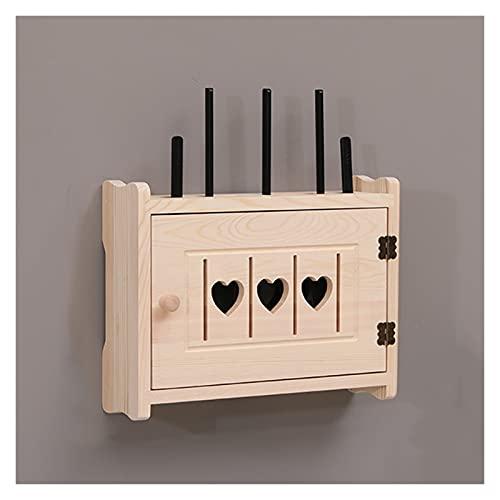LJJOO Caja de almacenamiento ocultas montada en pared con diseño hueco en forma de corazón, madera wifi enrutador caja de almacenamiento conjunto de caja de caja superior de caja de enrutador enrutado