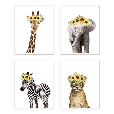 Sweet Jojo Designs Sunflower Safari Jungle Animal Wall Art Prints Room Decor for Baby, Nursery, and Kids - Set of 4 - Elephant Giraffe Lion Zebra Yellow Boho Watercolor Floral Flower