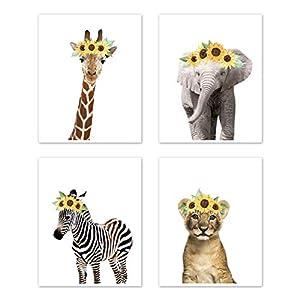 Sweet Jojo Designs Sunflower Safari Jungle Animal Wall Art Prints Room Decor for Baby, Nursery, and Kids – Set of 4 – Elephant Giraffe Lion Zebra Yellow Boho Watercolor Floral Flower