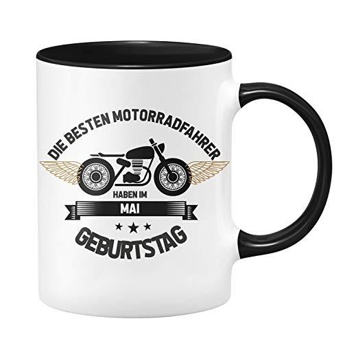 Motorrad Tasse - Die besten Motrradfahrer haben im Mai Geburtstag - Geschenk für Motorradfahrer, Motorradfans - Geburtstagsgeschenk/Geschenkideen für Männer - Monat wählbar (Mai)