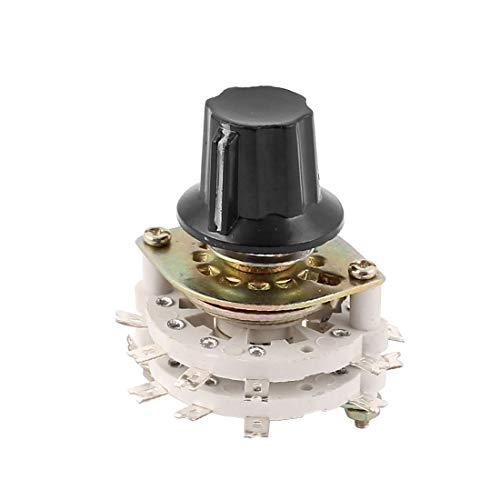 New Lon0167 34 x 44 mm KCZ 4 polos 4 tiros 6 mm Banda de eje Selector de interruptor giratorio de canal w tapa(34 x 44mm KCZ 4 Pol 4 Wurf 6mm Wellenband Kanal Drehschalter Wahlschalter w Cap