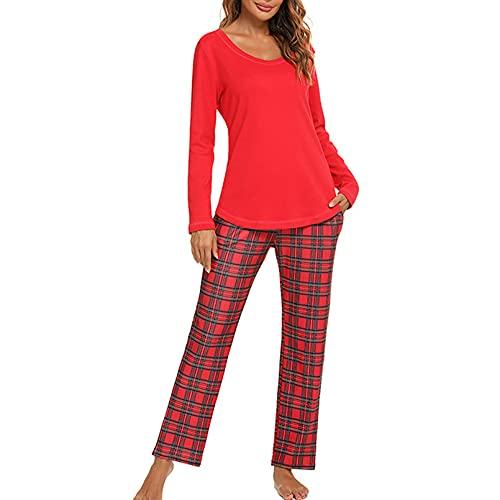 GTHTTT Pijama Mujer Otoño E Invierno Leopardo A Cuadros 2 Piezas Set Cuello Redondo Ropa De Hogar Manga Larga Top Y Pantalones Jogging Estilo Ropa De Dormir,Rojo,M