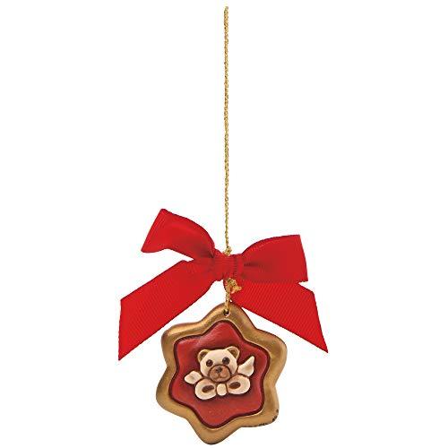 THUN - Addobbo Stella con Teddy per Albero di Natale - Formato Mini - Ceramica - 5 cm l