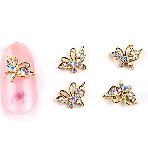10pcs Glitter Butterfly strass 3d Nail Art Décorations en alliage Charms Nail Sticker Bijoux