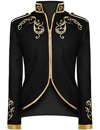 Unisex Military Blazers Prince Coats Drummer Parade Punk Officer Fitted Jackets (Black, Medium)