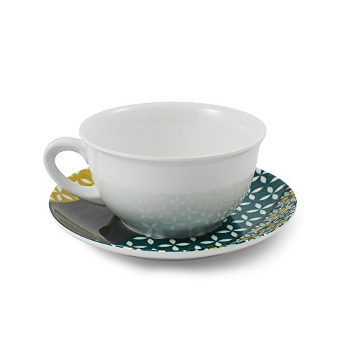 Cartaffini - Tasse à petit déjeuner PROVENZA - Gris/turquoise/Ocra - Mélamine avec motif en véritable tissu (seelvy), tasse : Ø 12,4 cm/H 6,80 cm, soucoupe : Ø 17 cm, capacité 360 ml