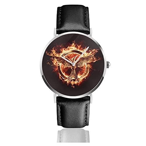 Relojes de Pulsera Hunger Games-Bird Reloj de Cuarzo con Correa de Cuero de PU para Hombre Mujer colección Regalo Unisex Informal de Negocios
