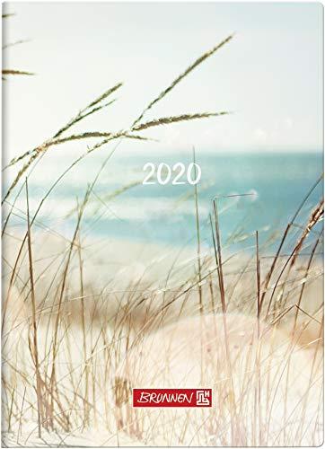BRUNNEN 107311503 Taschenkalender Modell 731 15 (2 Seiten = 1 Woche, 10 x 14 cm, Grafik-Einband Strand, Kalendarium 2020)
