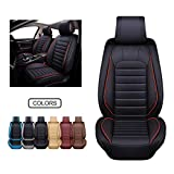 OASIS AUTO Leather Car Seat Covers, Faux Leatherette Automotive Vehicle Cushion Cover for Cars SUV Pick-up Truck Universal Fit Set for Auto Interior Accessories (OS-012 Front Pair, Black)
