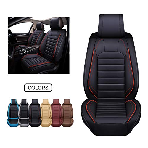 OASIS AUTO Leather Car Seat Covers, Faux Leatherette Automotive Vehicle Cushion Cover for Cars SUV Pick-up Truck Universal Fit Set for Auto Interior Accessories (OS-012 Front Pairs, Black)