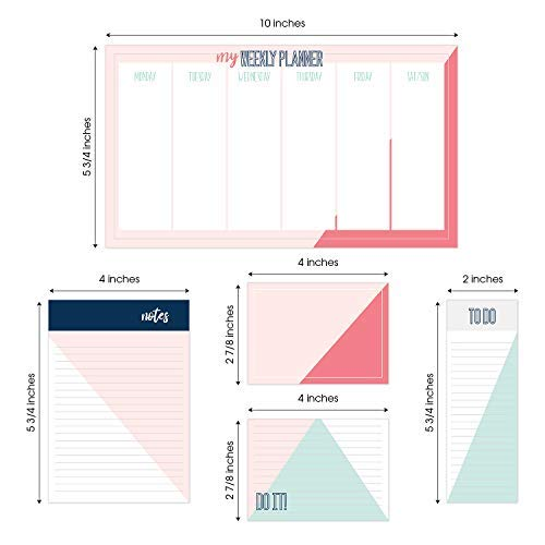 Chic Color Block Adhesive Sticky Note Pack - 5 Pads - 50 Sheets/pad
