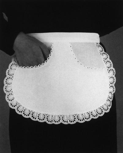 Servierschürze mit wertvoller Rand- u. Taschenspitze 25 cm