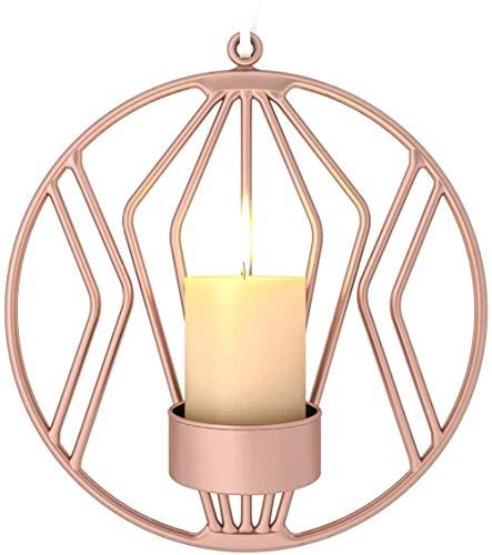 U-A Candlestick for Living Room, Wall Sconces for Pillar Candles or Tea Light, Metal Metal Candelabra for Living Room Bedroom for Wedding Decor(Rose Gold)