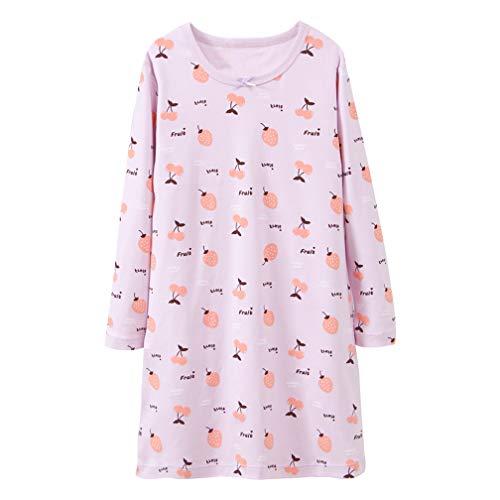 Baby Girls' Strawberry Nightgowns Cherry Sleep Shirts Knee Length Nighty Purple 4 Years