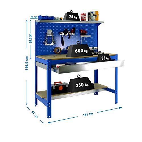 Simonrack–Banco da lavoro a 3livelli/1cassetto, 875kg L. Larghezza: 1510mm. Altezza: 1445 mm. Profondita: 610mm. Kit Simonwork BT3 1500 mm, colore blu, 448100021156012.