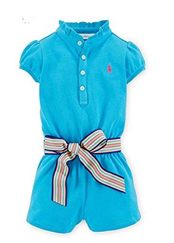 Ralph Lauren Mameluco de manga corta de algodón para niña - azul - 9 meses