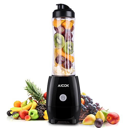 Aicok Personal Blender Single Serve Smoothie Maker with Take-Along Bottle and Travel Lid, 600ML, Black