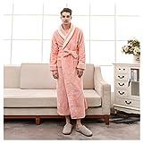 OMFGOD Herren Winter Bademantel Mode Freizeit Flanell Bequem Schlafanzug dick lang Flansch Nacht Kleid Orange, Abbildung, XXXL
