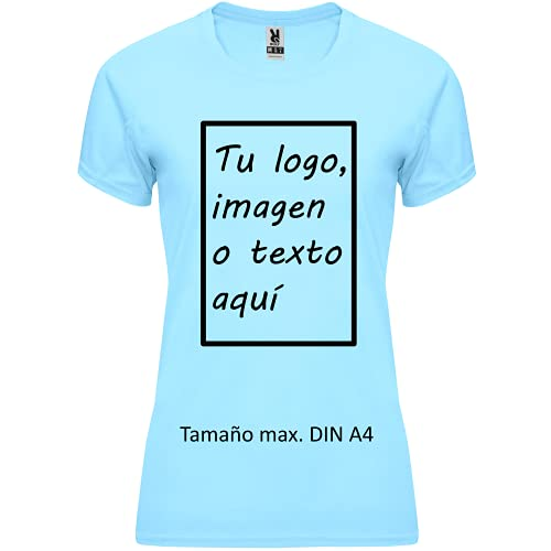 rainUP – Camiseta Técnica Personalizable – Camiseta Deportiva Running Mujer - Manga Corta – Impresión Directa (DTG) – Puedes añadir tu Frase, Logo o Imagen Personalizada (Celeste)