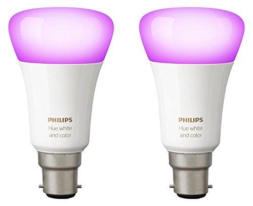 Philips Hue Pack de 2 ampoules connectées White & Color B22 - Fonctionne avec Alexa