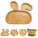 AWIIK - Assiette en bambou avec forte ventouse pour bébés et jeunes enfants Plateau BLW antidérapant avec aspiration. Plateau pour enfant avec ventouse anti-renversement pour apprendre à manger BLW.