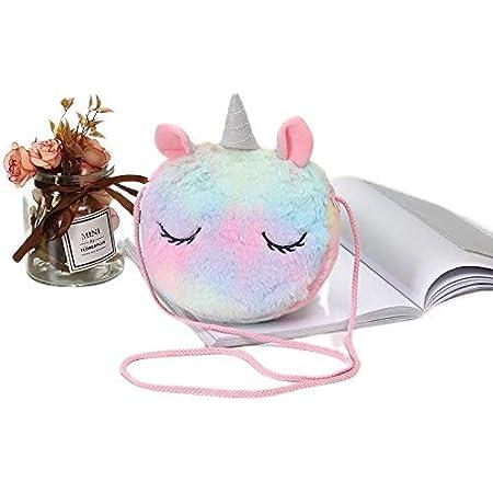 Supplybel Unicorn Fur sling bag For Baby Girls,Kids Shoulder Messenger Sling Bags
