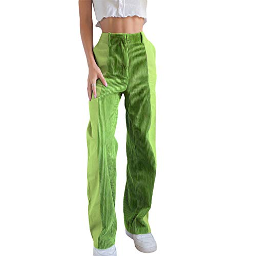 Mistshopy Women High Waist Y2K Corduroy Loose Pants Vintage Straight Leg Baggy Trousers Casual Hipster Streetwear (#2-Green, L)