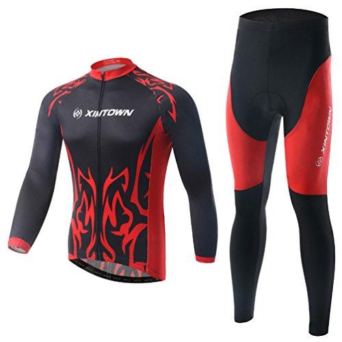Baymate Unisexe Quick Dry Maillots Vélo Vêtements de Cyclisme Ensemble Manches Longues Veste et Respirant Pantalons XXL