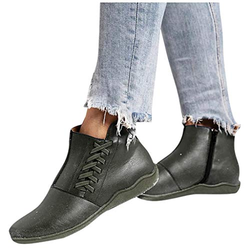 DNOQN Damen Wasserdicht Anti-Rutsch Stiefeletten Winterschuhe Damen Mode Freizeit Größe Flache Absätze Schnürstiefel Schuhe