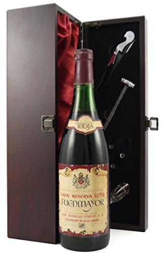 Rioja Gran Reserva 1959 Fuemayor en una caja de regalo forrada de seda con cuatro accesorios de vino, 1 x 750ml