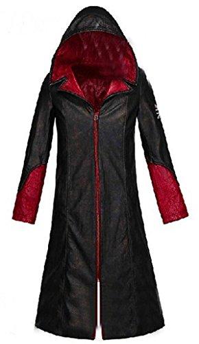 HOLRAN Devil May Cry 5 DMC Dante Men's Leather Coat Jacket Cosplay Costumes (Large, Black)