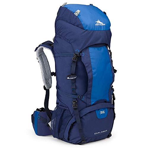 High Sierra Explorer Top Load Internal Frame Hiking Pack, True Navy/Royal/True Navy, 55L
