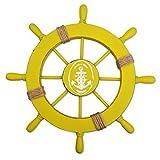 Fangoo 28 cm Wanddeko Steuerrad Holz Steuerrad Deko mit Fischnetz Schiff Lenkrad Deko Maritime Deko Nautische Boot Haus Garten Dekoration (Gelb)